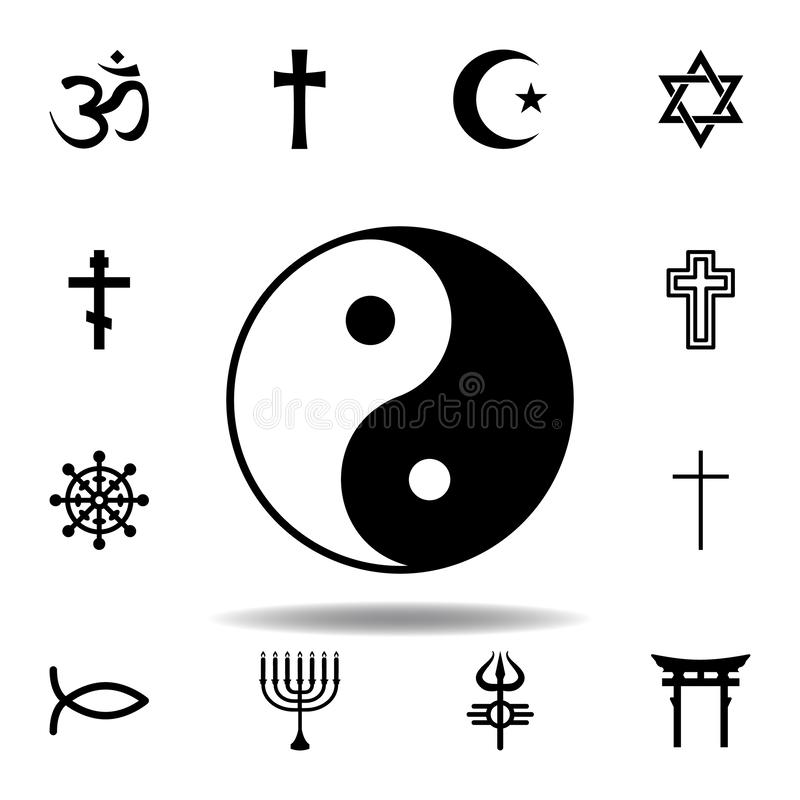 Religion symbol, yin yang icon. Element of religion symbol illustration. Signs and symbols icon can be used for web, logo, mobile. App, UI, UX on white vector illustration