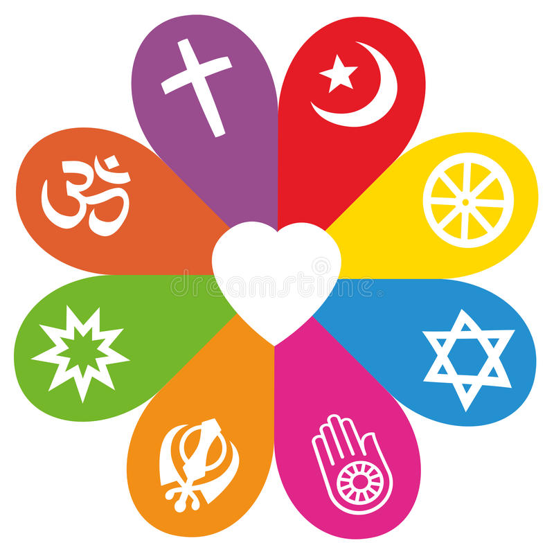 Religion Symbols Flower Love Colors Stock Vector Illustration Of