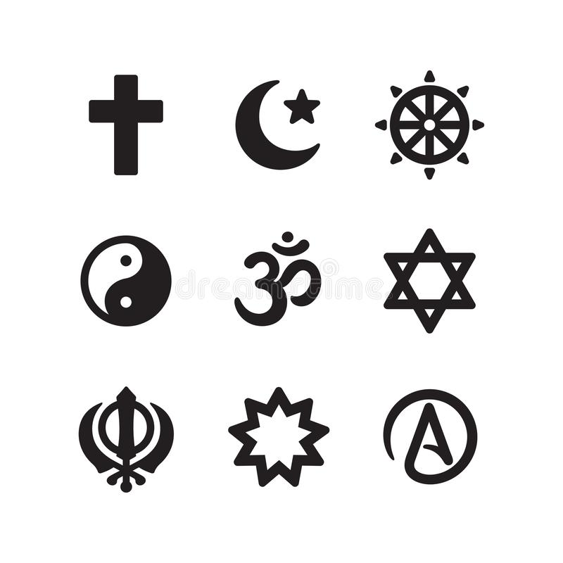 Religion symbols icon set. Icon set of religious symbols. Christianity, Islam, Buddhism, other main world religions and Atheism sign, simple and modern minimal stock illustration
