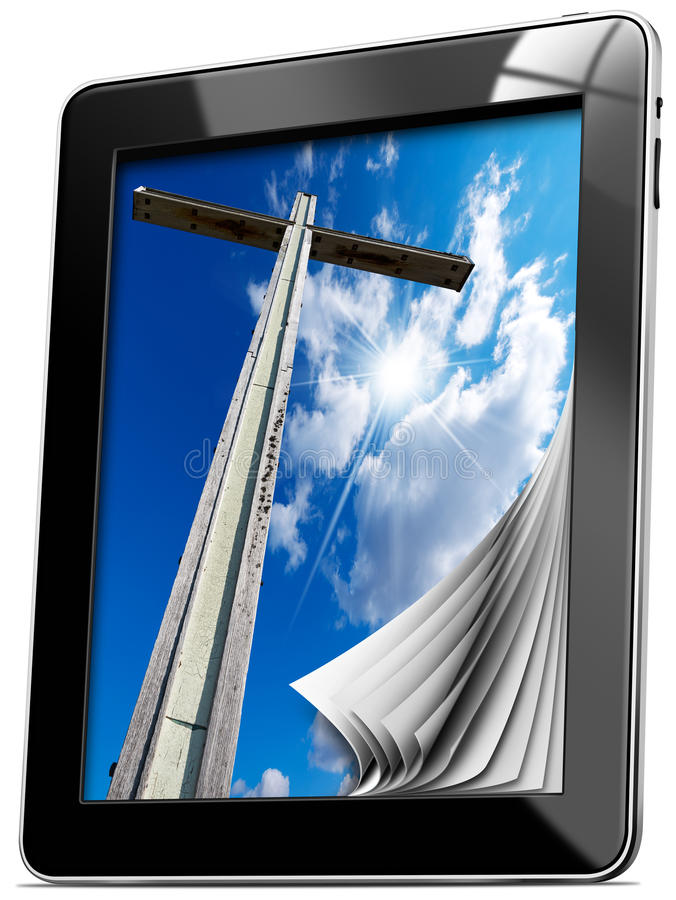 Religion - Tablet computer with Pages. Tablet computer with pages and monitor with wooden high cross with blue sky, clouds and reflection vector illustration