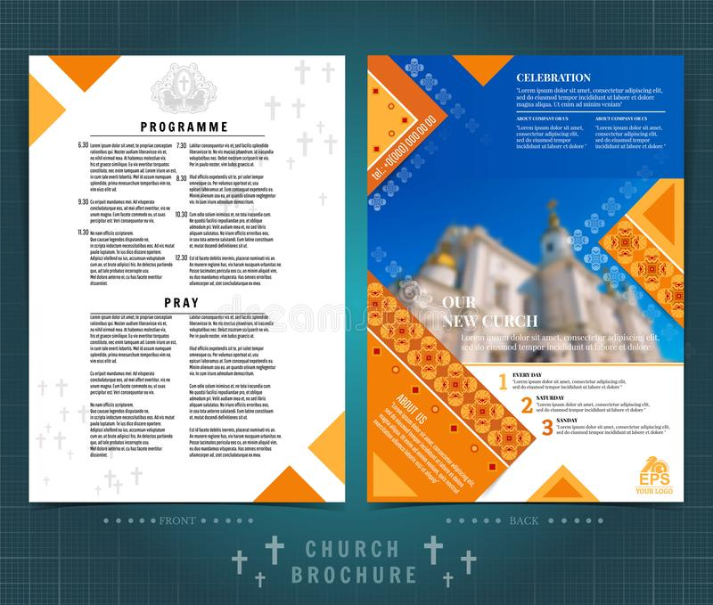 Religion two sided brochure or flyer template design with church building blurred photo ellements. Mock-up cover in yellow vector. Religion two ed brochure or royalty free illustration