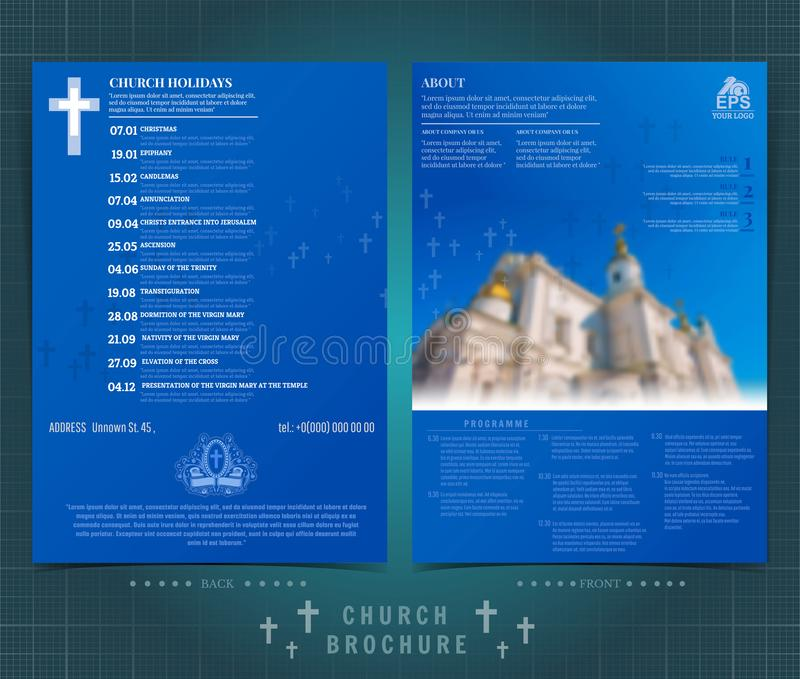 Religion two sided brochure or flyer template design with church building blurred photo and church calendar. Mock-up cover in blue. Religion two ed brochure or vector illustration