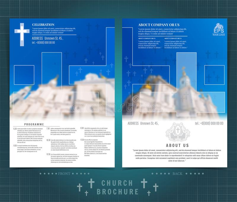 Religion two sided brochure or flyer template design with church building blurred photo and cross ellements. Mock-up cover in blue. Religion two ed brochure or royalty free illustration