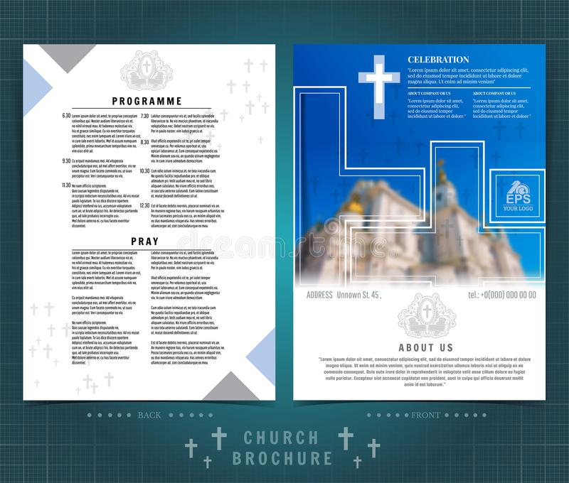 Religion two sided brochure or flyer template design with church building blurred photo ellements. Mock-up cover in blue vector. Religion two ed brochure or vector illustration