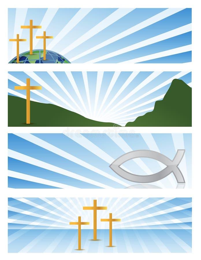 Religion - vier fromme Fahnen der Abbildung lizenzfreie abbildung