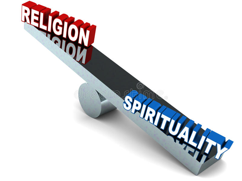 Religion vs spirituality. On a balance, against white background, spirituality winning against religion as a more logical and scientific option stock illustration