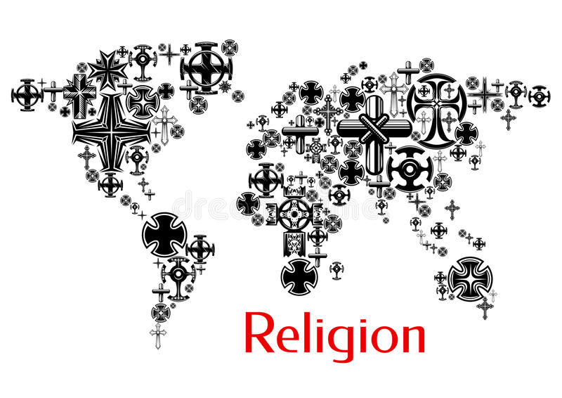 Religion World Map With Christianity Cross Symbols Stock Vector - Christianity map