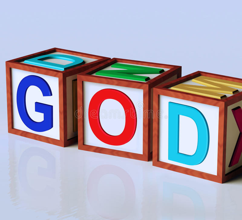 Religione di spiritualità di manifestazione dei blocchetti di Dio illustrazione di stock