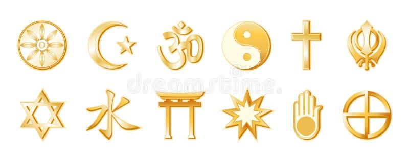 religiones del mundo de +EPS, oro en blanco stock de ilustración