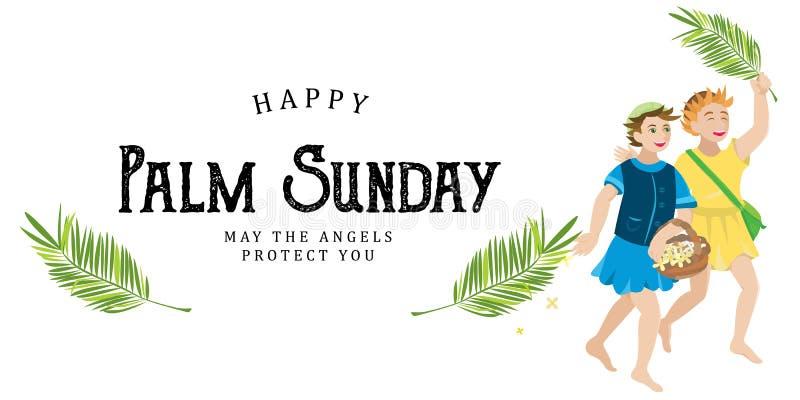 Religionferie gömma i handflatan söndag för easter, beröm av ingången av Jesus in i Jerusalem, lyckliga ungar med stock illustrationer