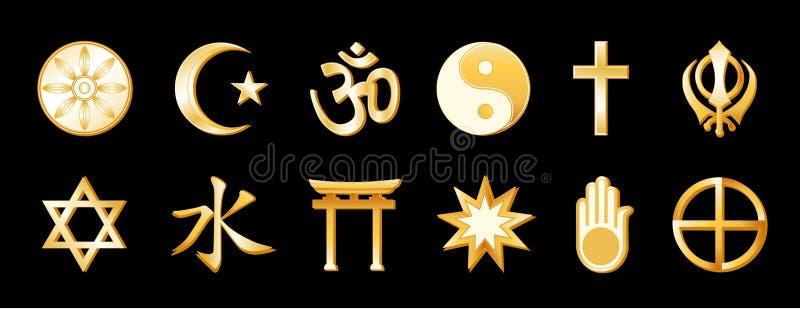 religioni del mondo di +EPS, oro sul nero royalty illustrazione gratis
