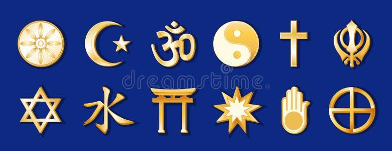 religioni del mondo di +EPS, oro sull'azzurro reale illustrazione di stock