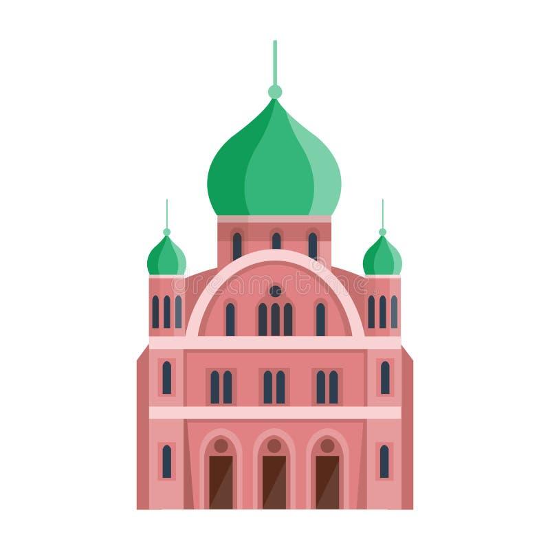 Religioni del mondo di turismo del punto di riferimento della costruzione del tempio della chiesa ortodossa della cattedrale e ci illustrazione di stock