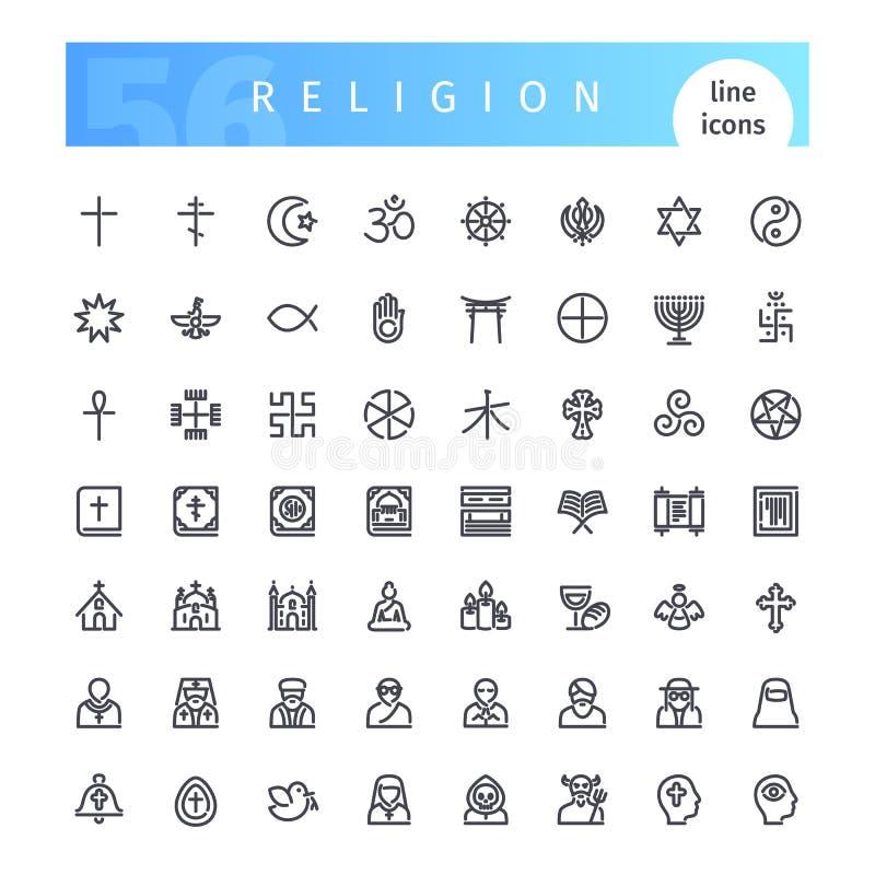 Religionlinje symbolsuppsättning royaltyfri illustrationer