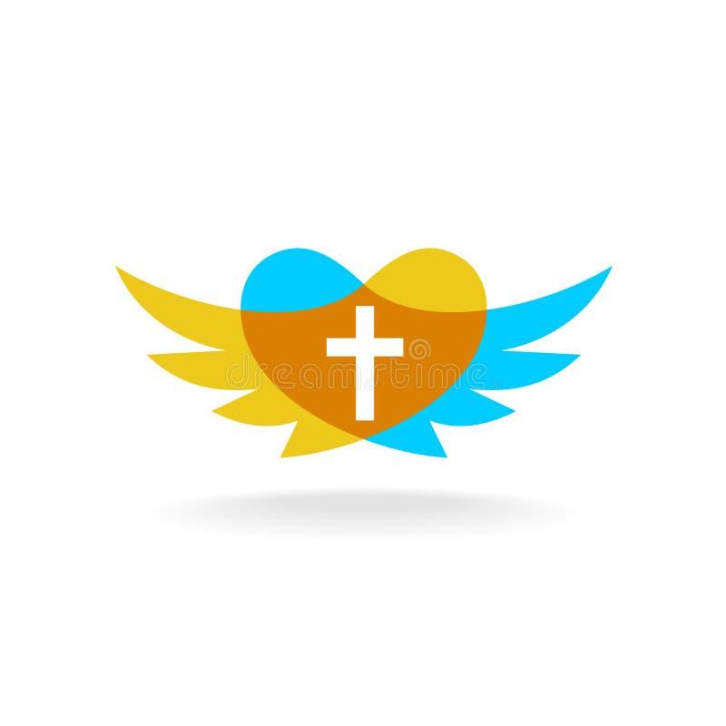 Religionlogo med vingar, hjärtakonturn och korset stock illustrationer