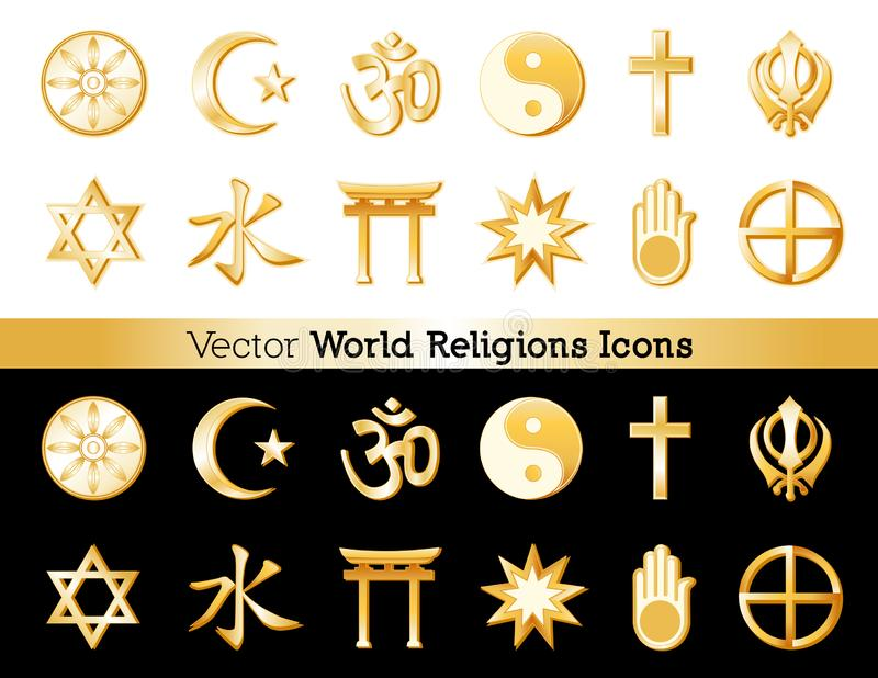 Religions Icons of the World, Black and White Backgrounds royalty free illustration