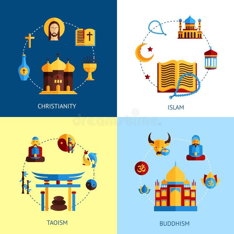 Religions-Konzept- des Entwurfessatz lizenzfreie abbildung