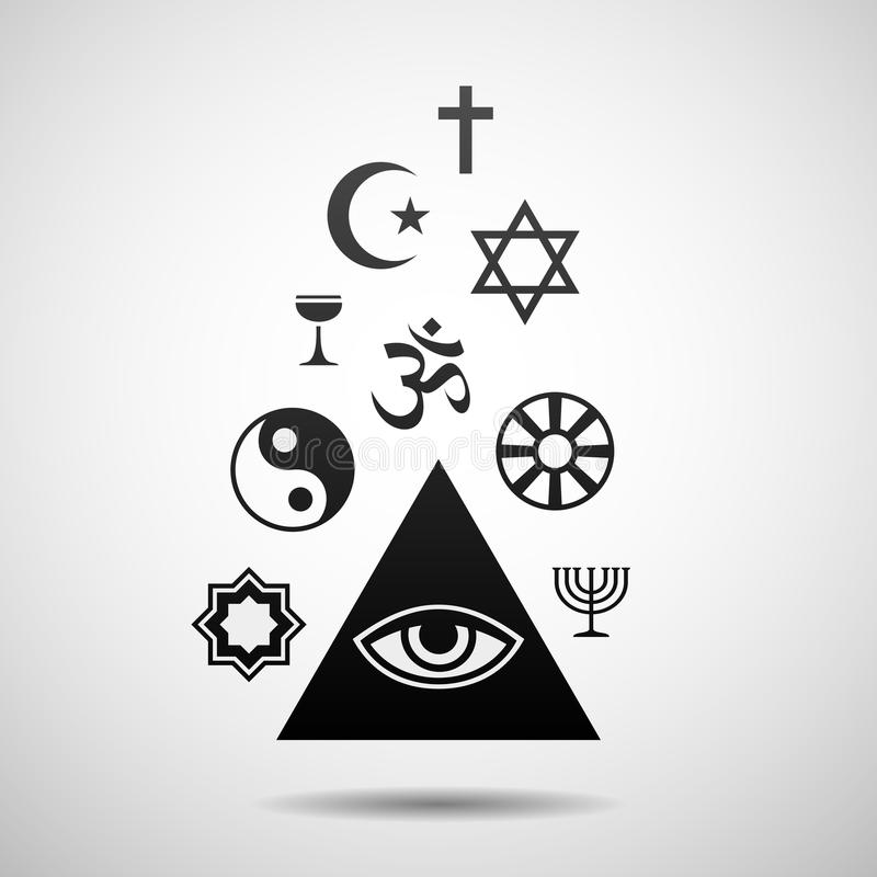 Religions symbols. Vector illustration with the religious symbols. Eps10 royalty free illustration