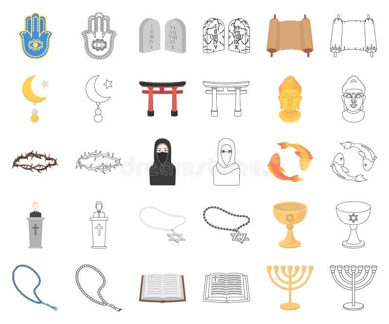 Religions- und Glaubenskarikatur, Entwurfsikonen in gesetzter Sammlung für Entwurf Zubehör, Gebetsvektorsymbol-Vorratnetz lizenzfreie abbildung