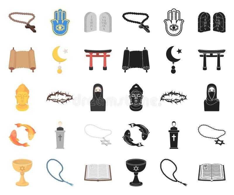 Religions- und Glaubenskarikatur, schwarze Ikonen in gesetzter Sammlung für Entwurf Zubehör, Gebetsvektorsymbol-Vorratnetz lizenzfreie abbildung