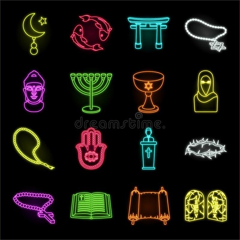 Religions- und Glaubensneonikonen in gesetzter Sammlung für Entwurf Zubehör, Gebetsvektorsymbolvorrat-Netzillustration stock abbildung