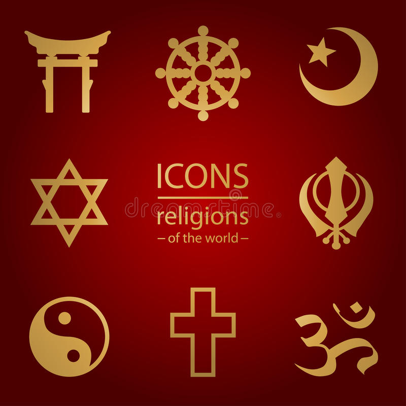 Religions of the world. icons set vector illustration