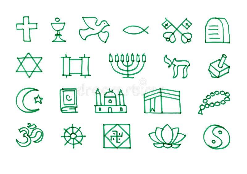 Religionssymbolikonen eingestellt gezeichnet mit Filzstift vektor abbildung