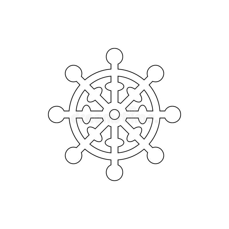 Religionsymbol, buddismöversiktssymbol Best?ndsdel av religionsymbolillustrationen Tecknet och symbolsymbolen kan anv?ndas f?r re stock illustrationer