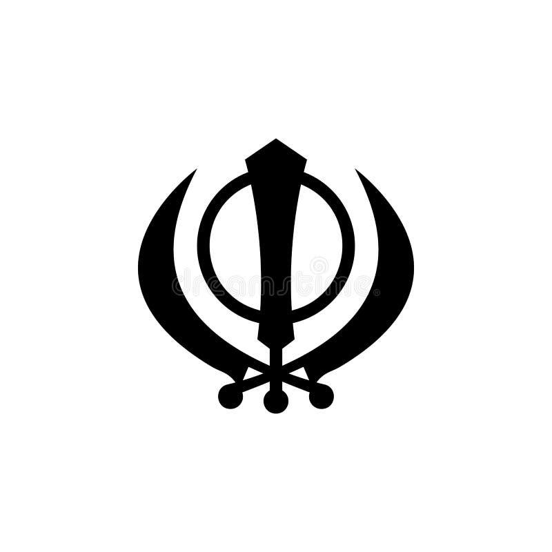 Religionsymbol, Sikhismsymbol Beståndsdel av religionsymbolillustrationen Tecknet och symbolsymbolen kan användas för rengöringsd stock illustrationer