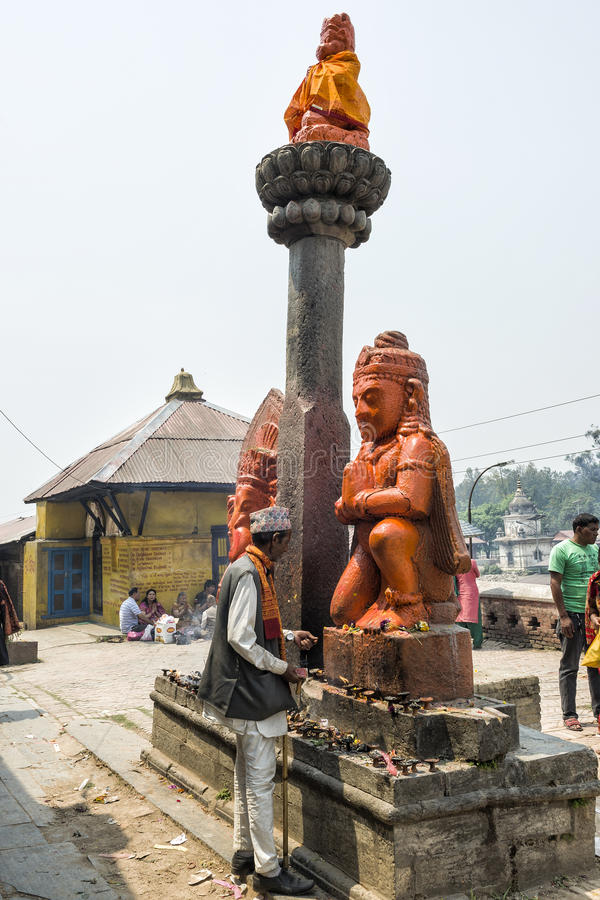 Religious activities and ceremony happening at Pashupatinath temple in Kathmandu, Nepal stock photo
