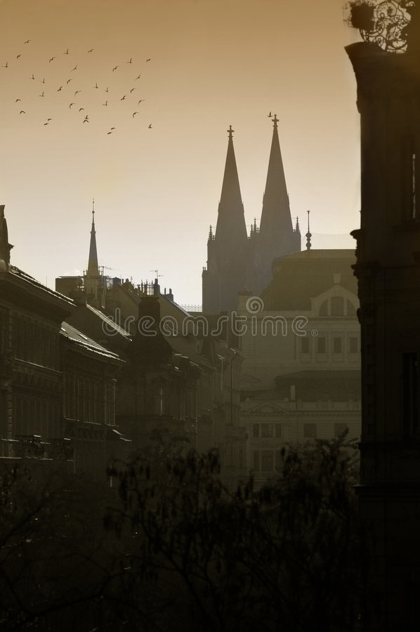 Religious architecture. In the centre of Prague stock images