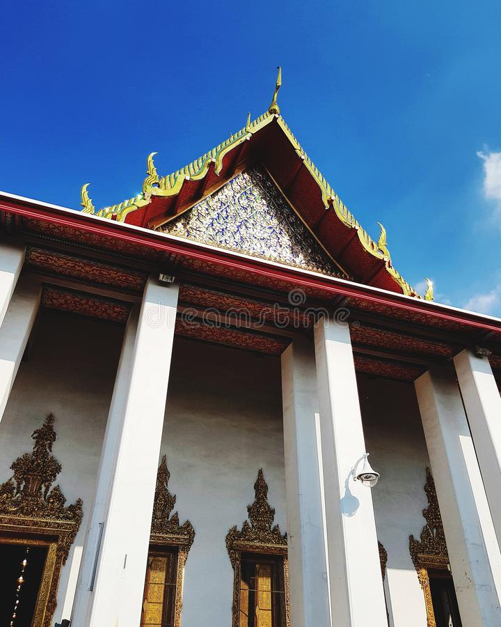 Religious architecture at Buddhist temple stock photo