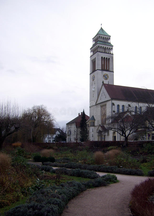 Religious architecture in Kehl, Germany. View of the Catholic Church of St. Johann Nepomuk in Kehl, Germany stock image