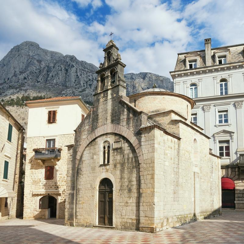 Religious architecture. Montenegro, Old Town of Kotor.  Church of St Luke stock photo
