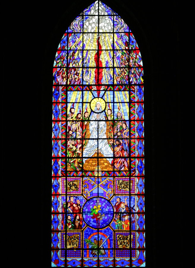 Religious art. Window of the zamora cathedral in michoacan, mexico stock photo