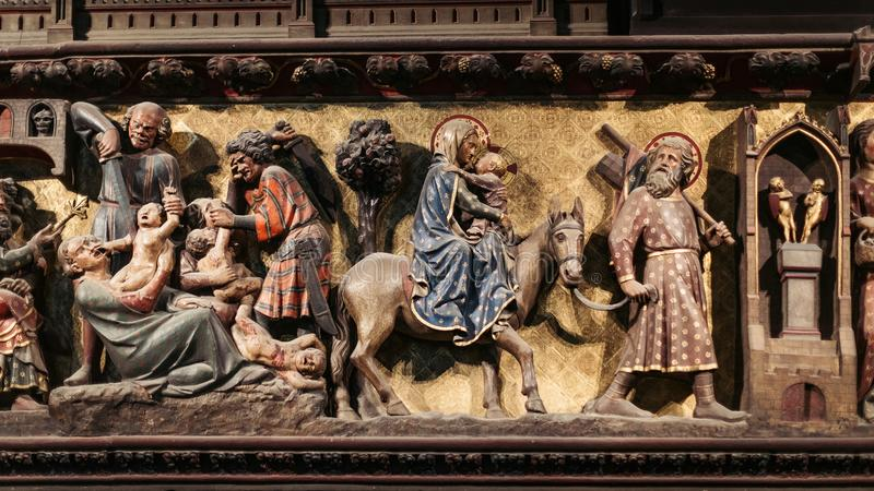 Religious Art In Notre Dame Cathedral. A religious display of art in Notre Dame cathedral stock images