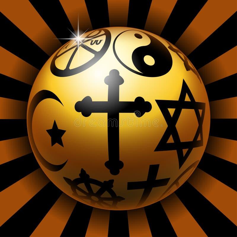 Religious ball. Illustration of glossy balls with religious symbols vector illustration