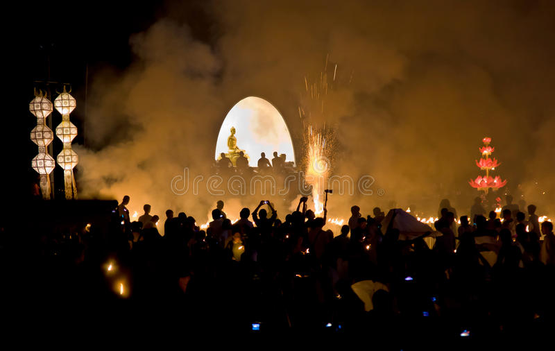 Religious Budha festival Loy Krathong stock images