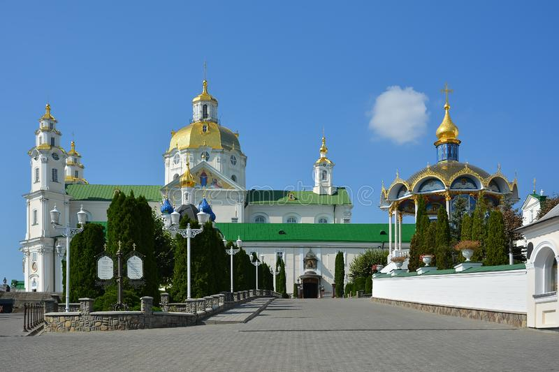 Religious building and Summer altar, Orthodox Christian cathedral with golden domes. Assumption Cathedral., Holy stock photography