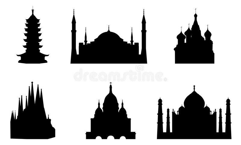 Religious Buildings. Illustration of six different religious buildings: Suzhou Pagoda in Shanghai, Hagia Sophia Mosque in Istanbul, Saint Basil Orthodox Church royalty free illustration