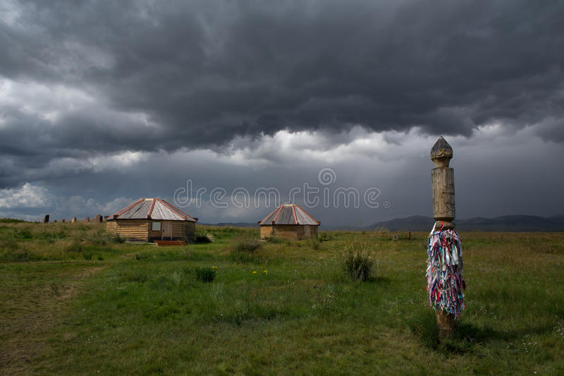 Religious buildings in ancient steppe mound. stock photography