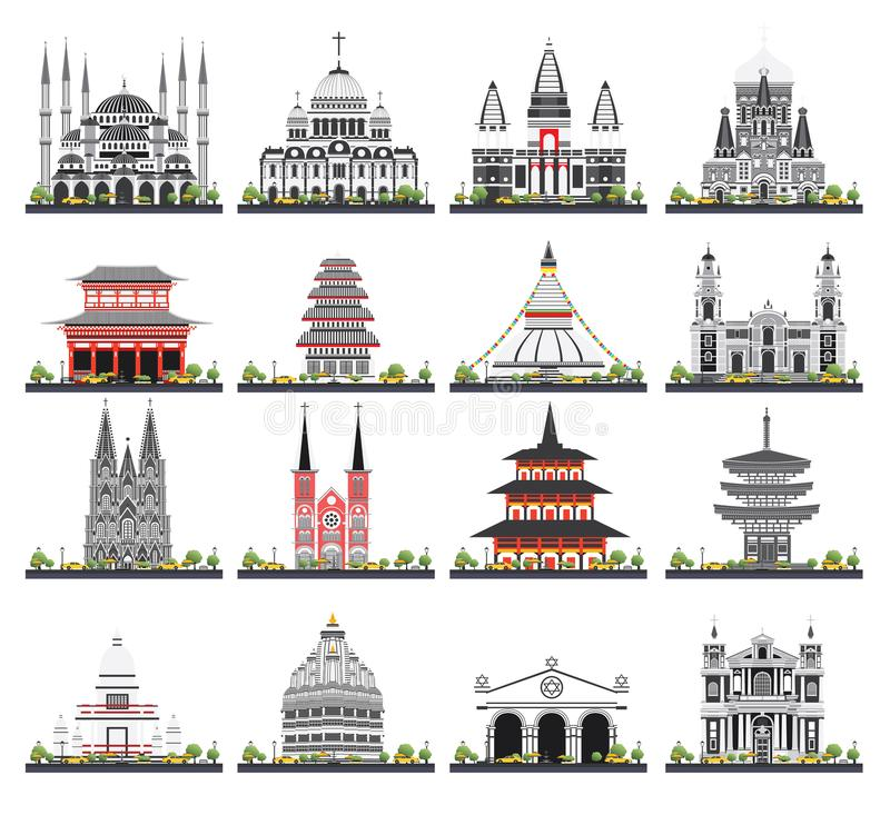 Religious Buildings Set Isolated on White Background. royalty free illustration