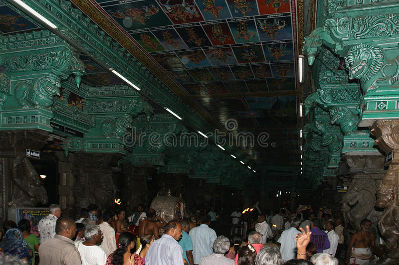 Religious ceremony in a Hindu temple Meenakshi in Madurai, South India. stock photos