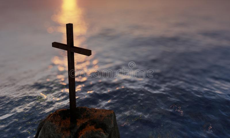 Religious christian cross standing on rock in the sea. Concept or conceptual religious christian cross standing on rock in the sea or ocean over blue water stock photos