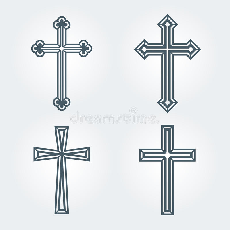 Religious Christian crosses crucifix set design. Vector illustration stock illustration