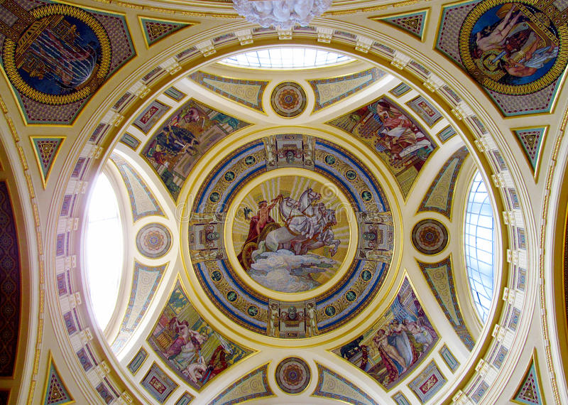 Religious christian icon painting on the church roof stock photo