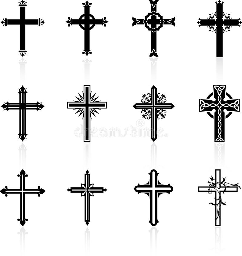 Religious cross design collection royalty free illustration