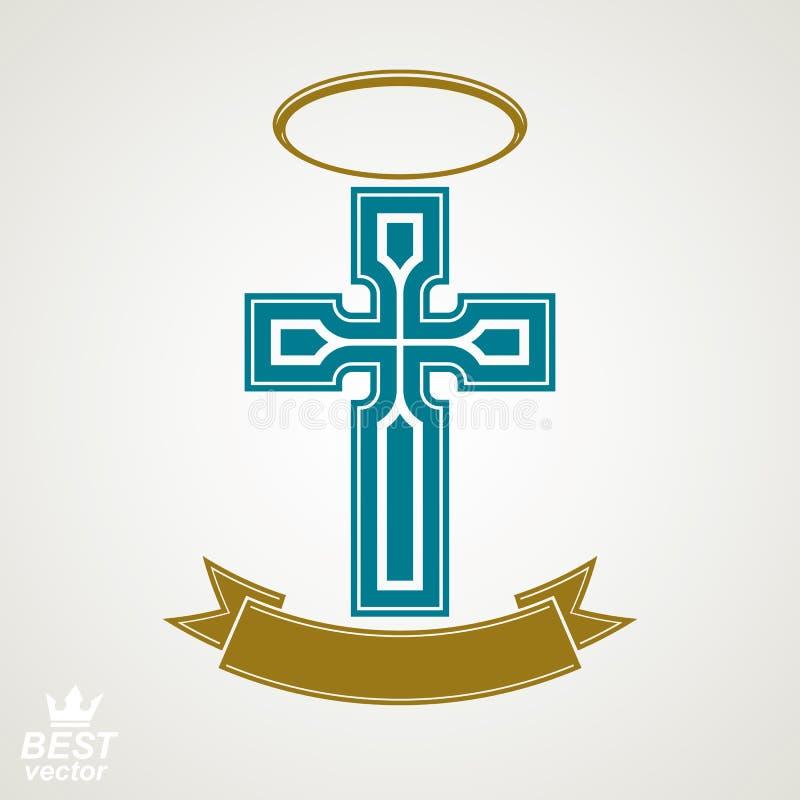 Religious cross emblem with nimbus and decorative ribbon, spirit stock illustration