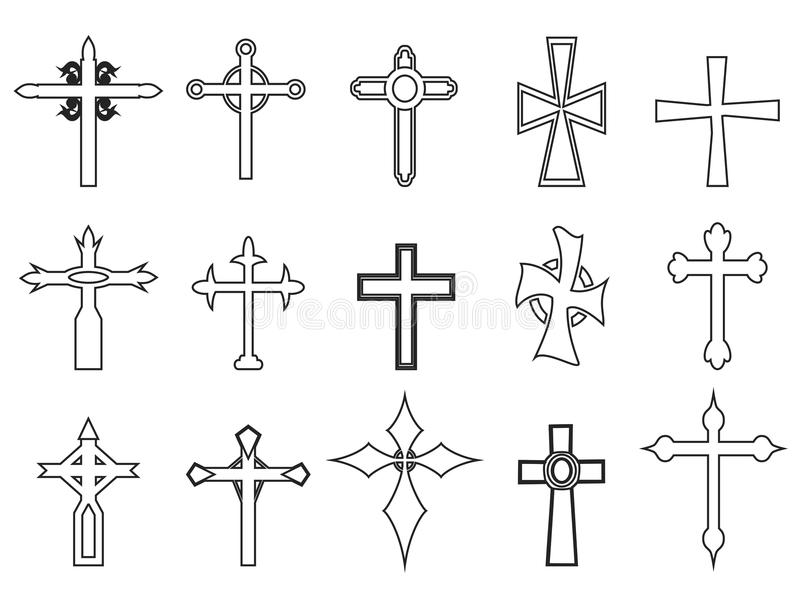 Religious cross outline icons stock illustration