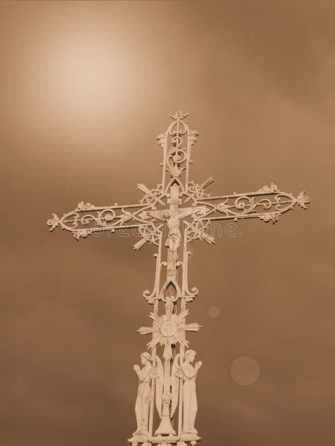 Religious Cross And Sky Stock Images